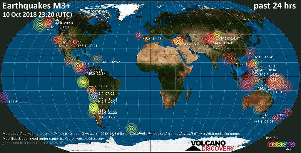 World map showing earthquakes above magnitude 3 during the past 24 hours on 10 Oct 2018