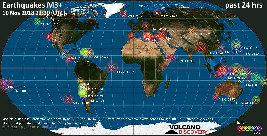 World map showing earthquakes above magnitude 3 during the past 24 hours on 10 Nov 2018