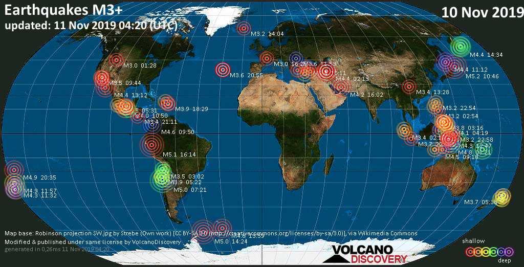 Weltkarte mit Erdbeben über Magnitude 3 während den letzten 24 Stunden past 24 hours am 11. November 2019