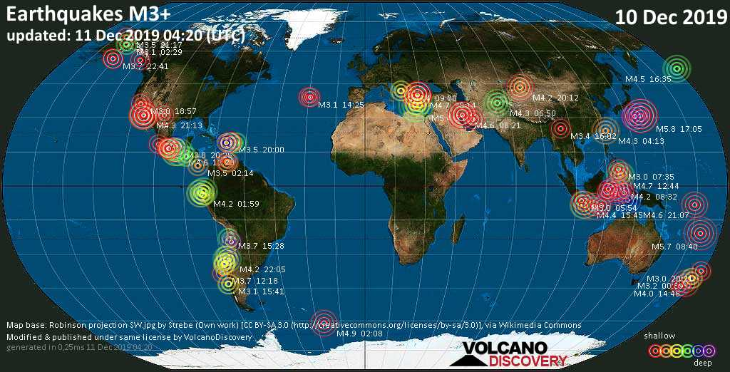 World map showing earthquakes above magnitude 3 during the past 24 hours on 11 Dec 2019