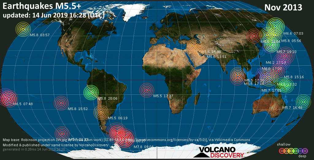 World map showing earthquakes above magnitude 5.5 during November 2013