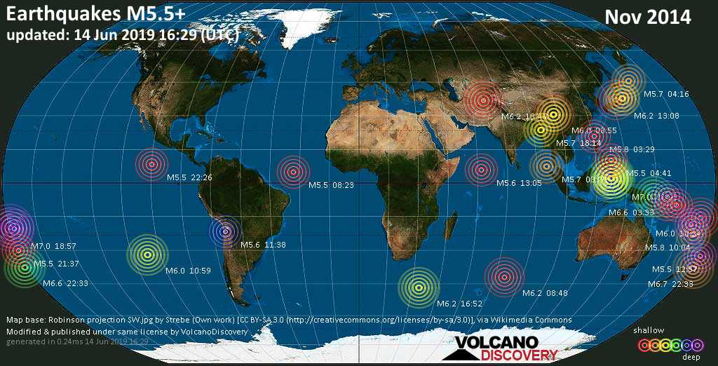 World map showing earthquakes above magnitude 5.5 during November 2014