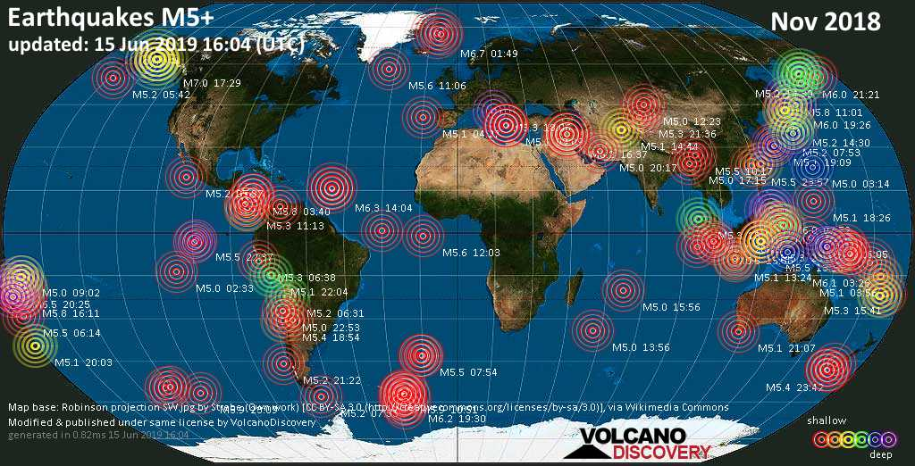 World map showing earthquakes above magnitude 5 during November 2018