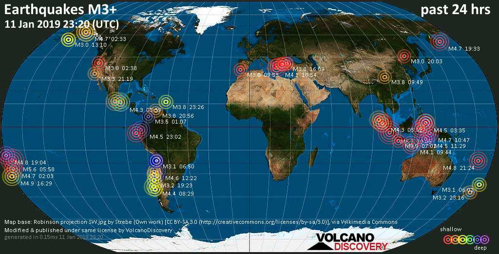 World map showing earthquakes above magnitude 3 during the past 24 hours on 11 Jan 2019