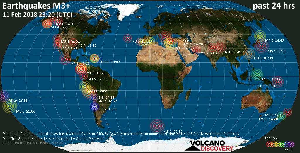 World map showing earthquakes above magnitude 3 during the past 24 hours on 11 Feb 2018