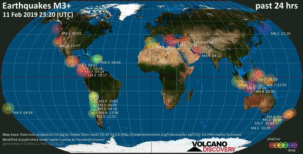 World map showing earthquakes above magnitude 3 during the past 24 hours on 11 Feb 2019