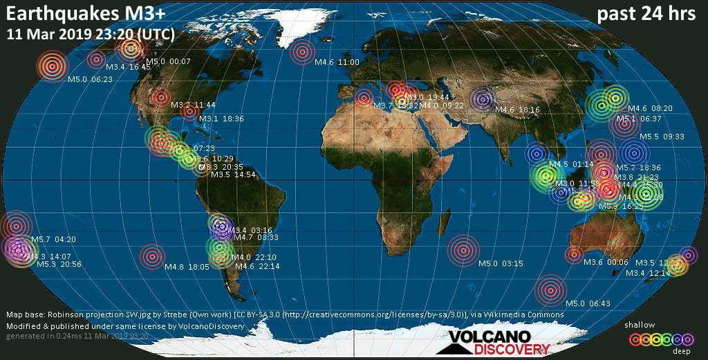 World map showing earthquakes above magnitude 3 during the past 24 hours on 11 Mar 2019