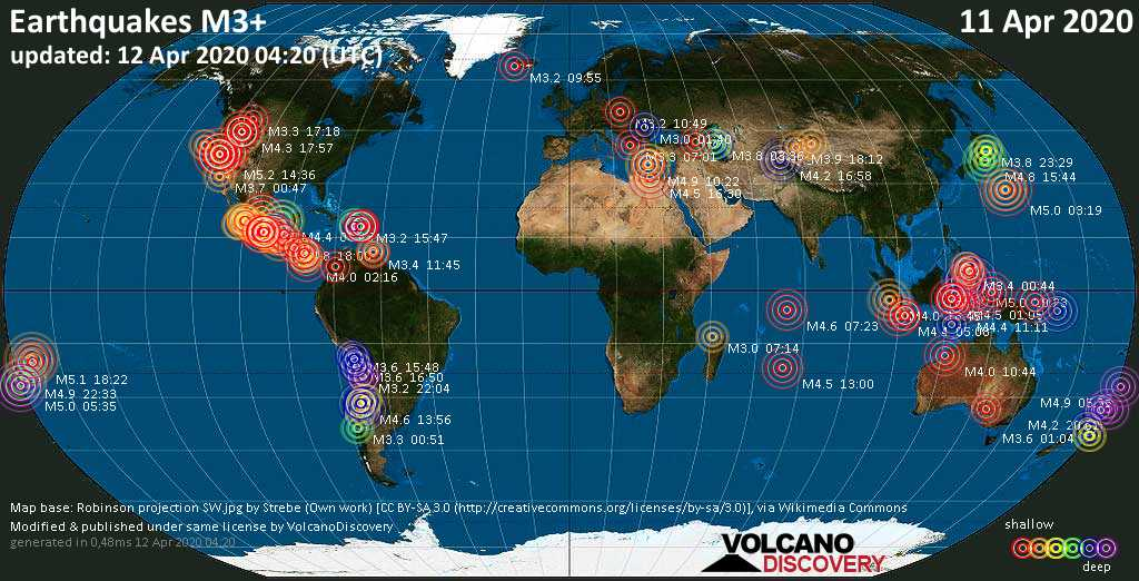 World map showing earthquakes above magnitude 3 during the past 24 hours on 12 Apr 2020