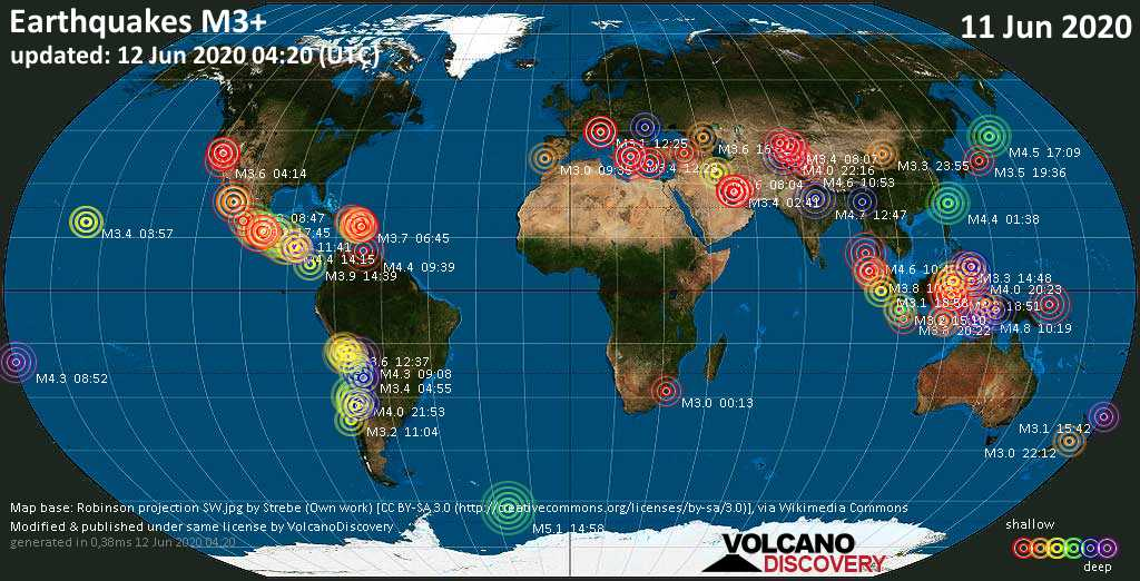 World map showing earthquakes above magnitude 3 during the past 24 hours on 12 Jun 2020
