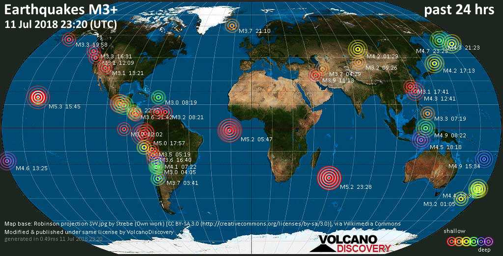 World map showing earthquakes above magnitude 3 during the past 24 hours on 11 Jul 2018
