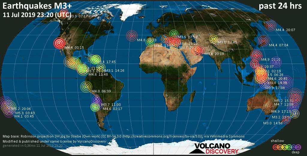 World map showing earthquakes above magnitude 3 during the past 24 hours on 11 Jul 2019