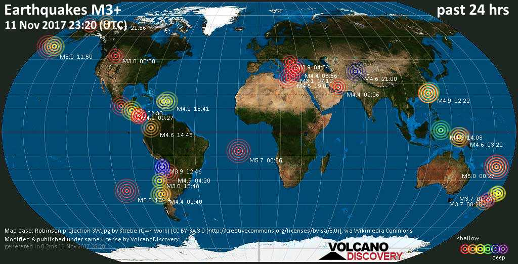 World map showing earthquakes above magnitude 3 during the past 24 hours on 11 Nov 2017