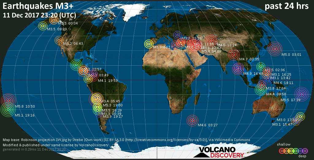 World map showing earthquakes above magnitude 3 during the past 24 hours on 11 Dec 2017