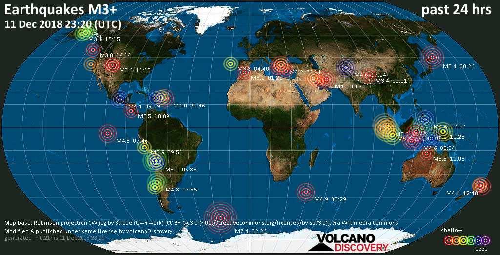 World map showing earthquakes above magnitude 3 during the past 24 hours on 11 Dec 2018