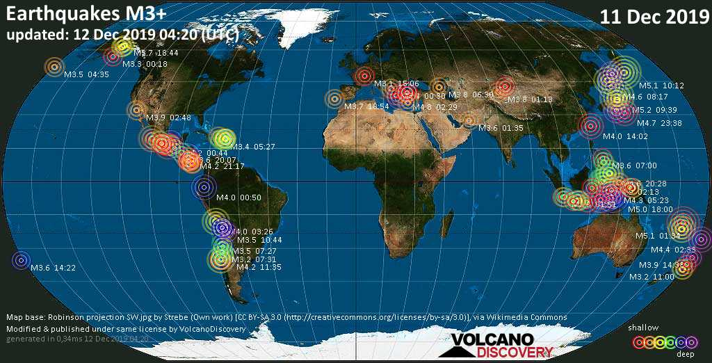 World map showing earthquakes above magnitude 3 during the past 24 hours on 12 Dec 2019