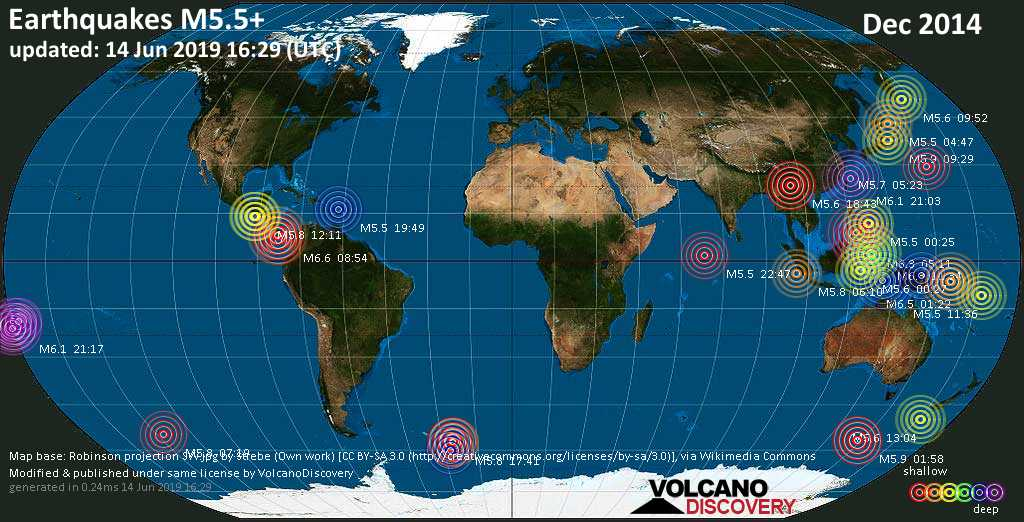 World map showing earthquakes above magnitude 5.5 during December 2014