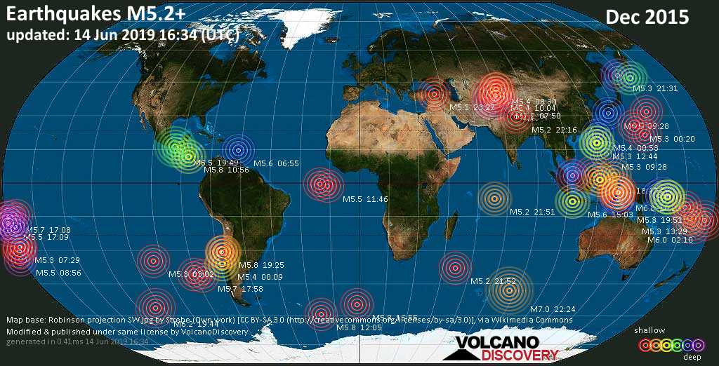 World map showing earthquakes above magnitude 5.2 during December 2015