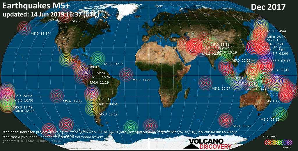 World map showing earthquakes above magnitude 5 during December 2017