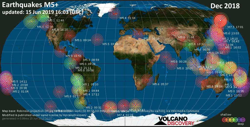 Earthquake report world-wide for December 2018 ...