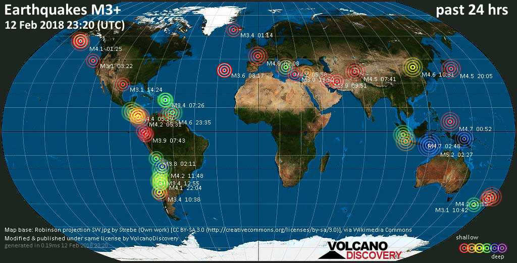 World map showing earthquakes above magnitude 3 during the past 24 hours on 12 Feb 2018