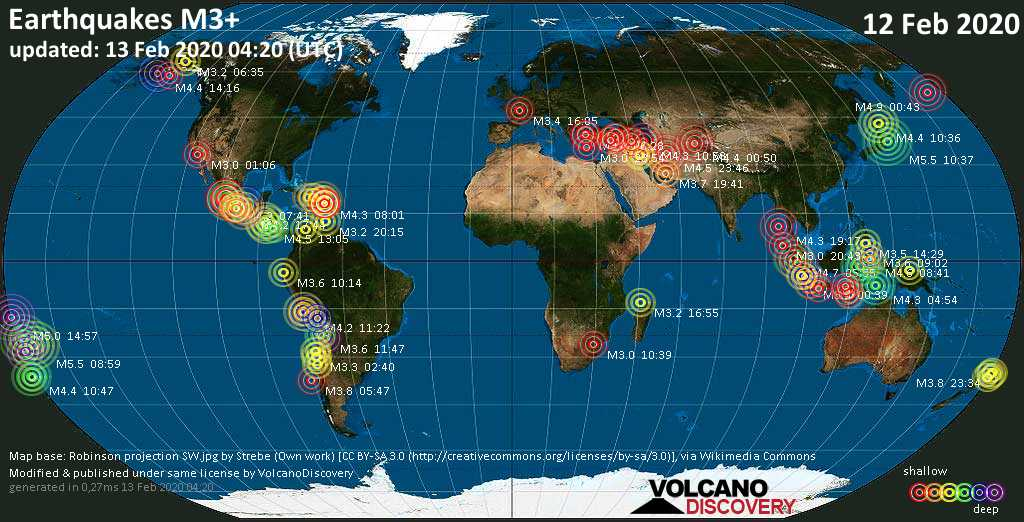 World map showing earthquakes above magnitude 3 during the past 24 hours on 13 Feb 2020
