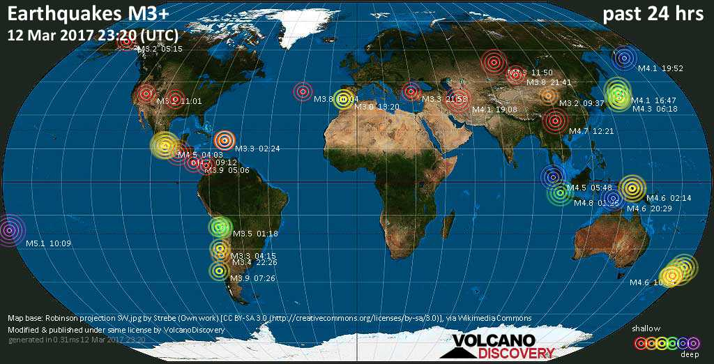 World map showing earthquakes above magnitude 3 during the past 24 hours on 12 Mar 2017