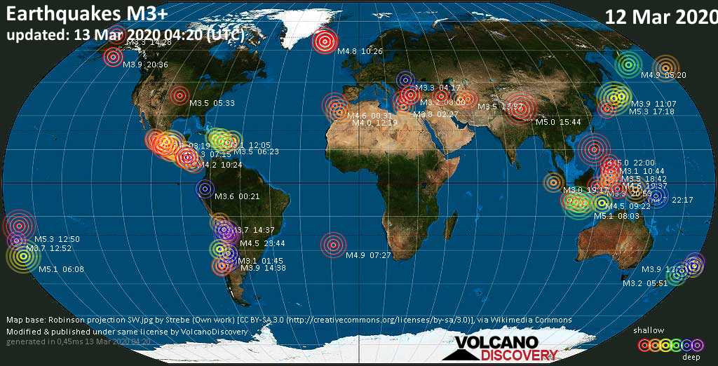 World map showing earthquakes above magnitude 3 during the past 24 hours on 13 Mar 2020