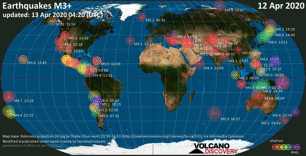 World map showing earthquakes above magnitude 3 during the past 24 hours on 13 Apr 2020