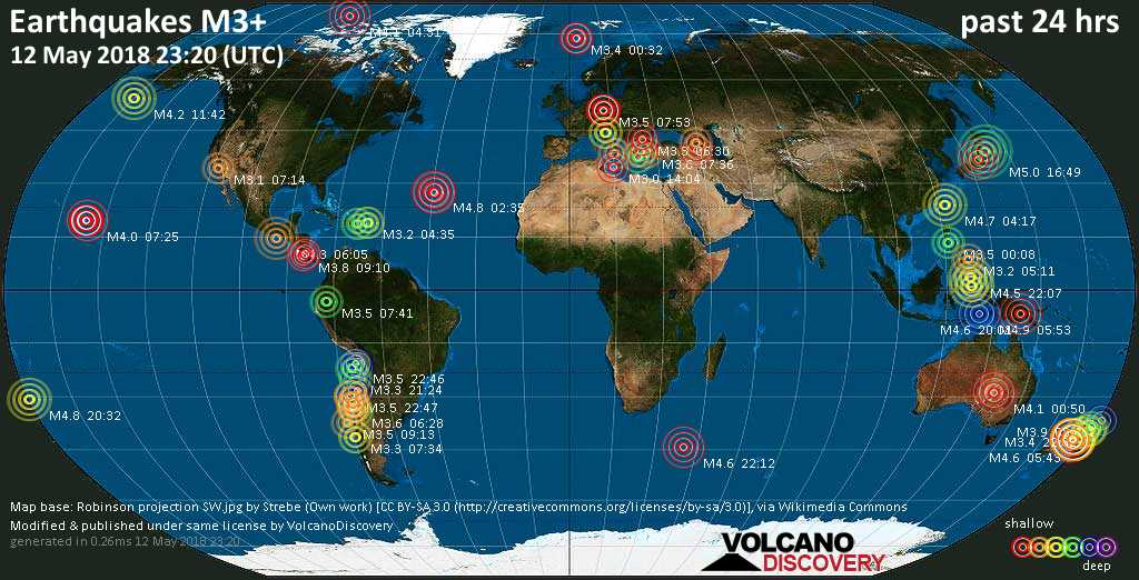 World map showing earthquakes above magnitude 3 during the past 24 hours on 12 May 2018