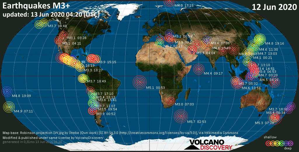 World map showing earthquakes above magnitude 3 during the past 24 hours on 13 Jun 2020