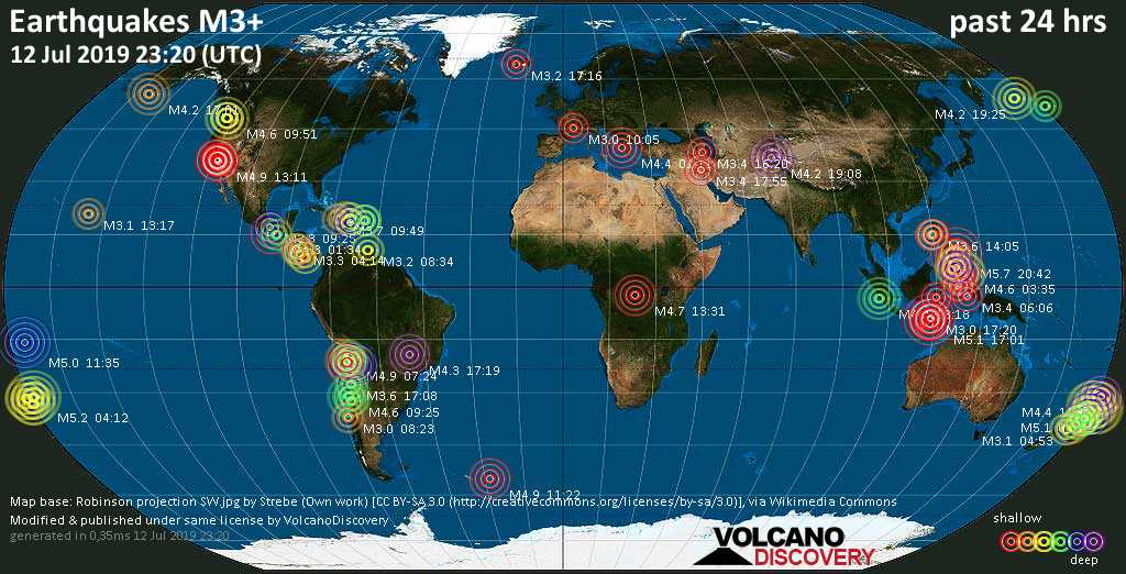 World map showing earthquakes above magnitude 3 during the past 24 hours on 12 Jul 2019