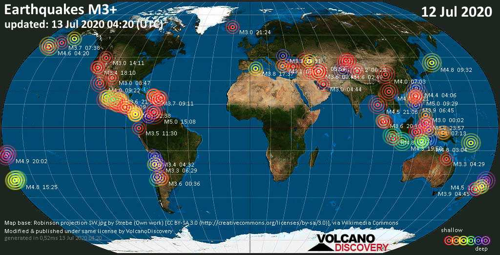 World map showing earthquakes above magnitude 3 during the past 24 hours on 13 Jul 2020