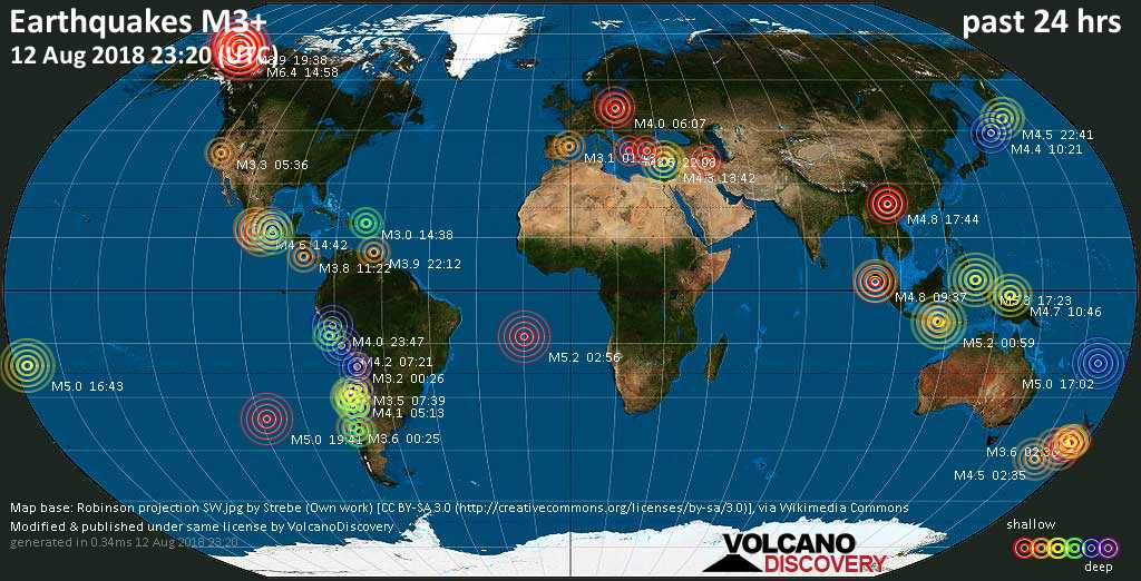 World map showing earthquakes above magnitude 3 during the past 24 hours on 12 Aug 2018