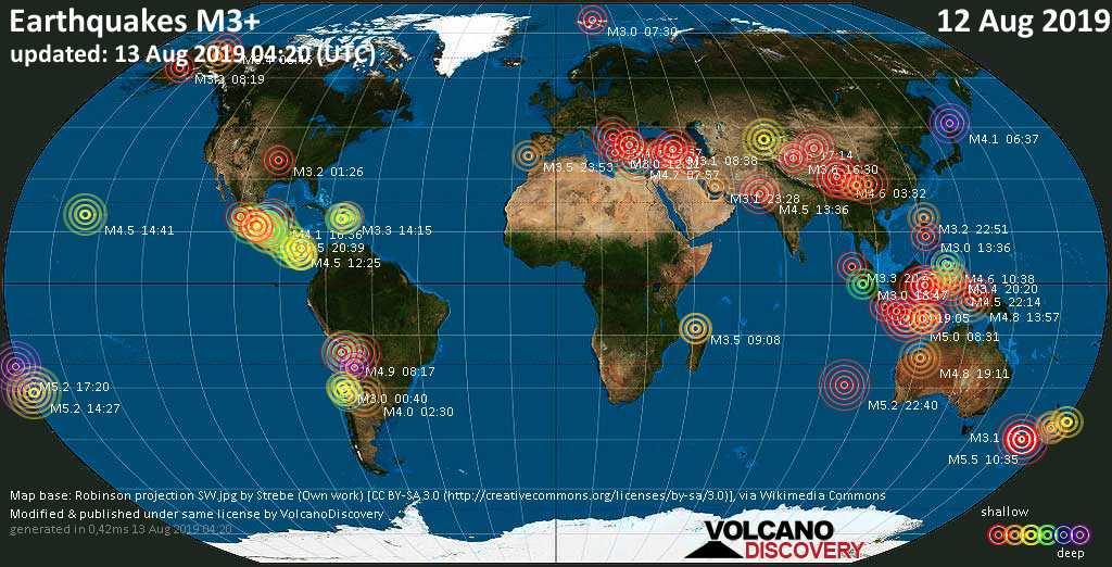 World map showing earthquakes above magnitude 3 during the past 24 hours on 13 Aug 2019