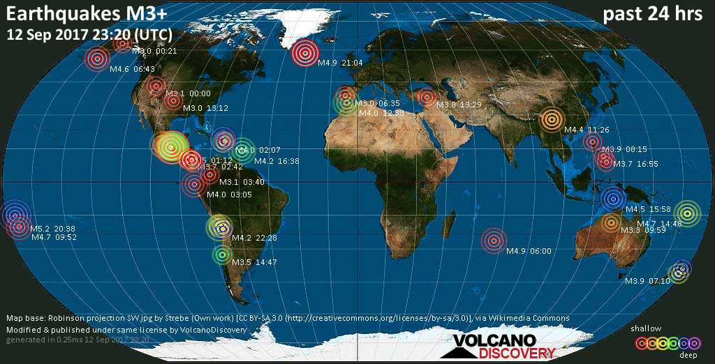 World map showing earthquakes above magnitude 3 during the past 24 hours on 12 Sep 2017