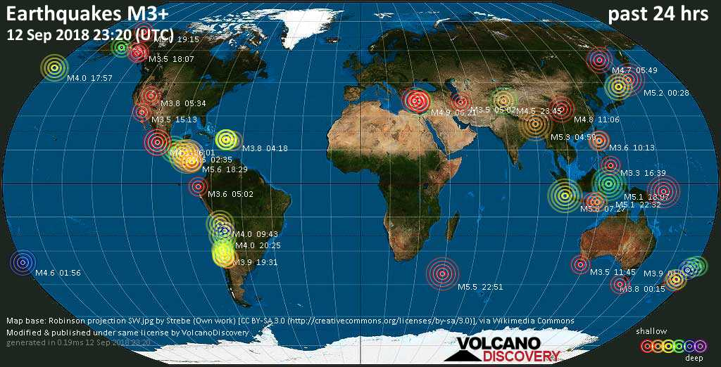 World map showing earthquakes above magnitude 3 during the past 24 hours on 12 Sep 2018