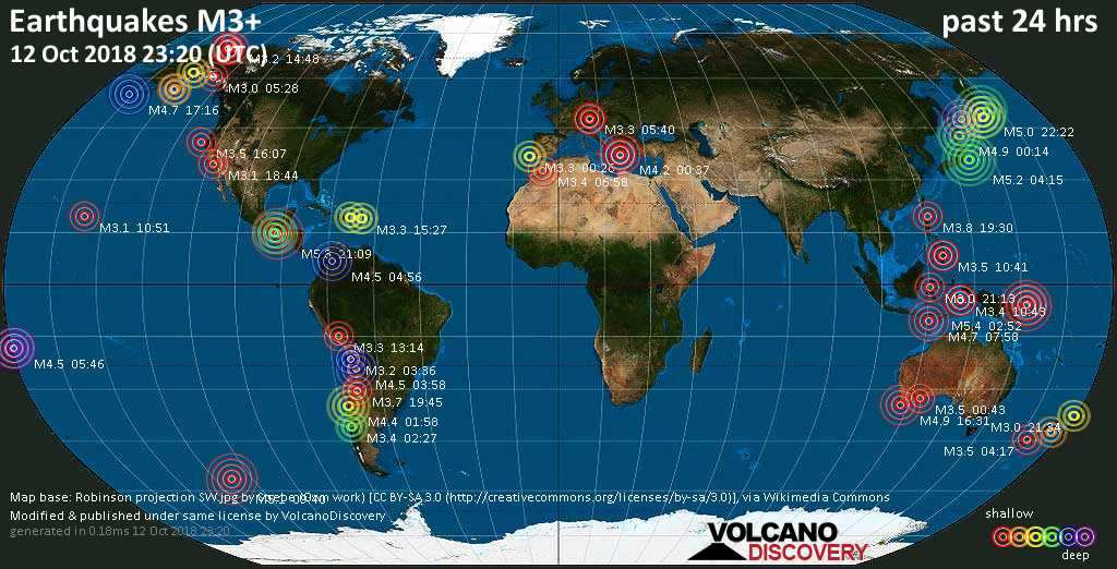 World map showing earthquakes above magnitude 3 during the past 24 hours on 12 Oct 2018