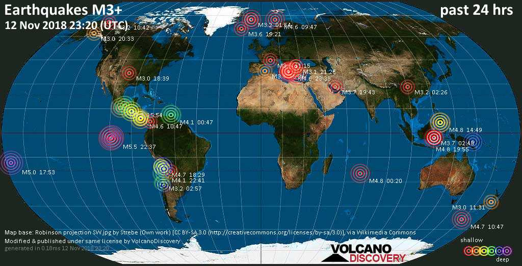 World map showing earthquakes above magnitude 3 during the past 24 hours on 12 Nov 2018