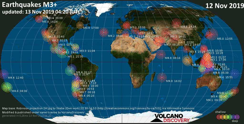 World map showing earthquakes above magnitude 3 during the past 24 hours on 13 Nov 2019