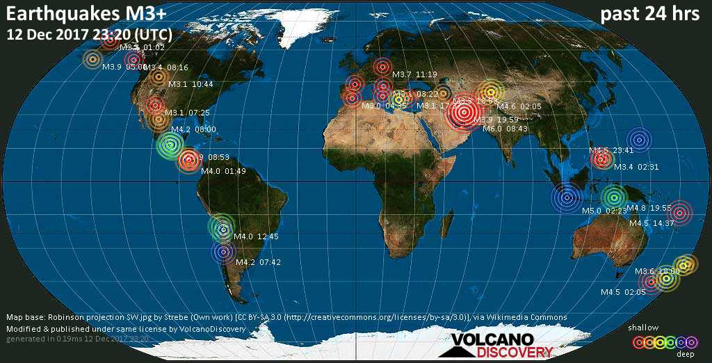 World map showing earthquakes above magnitude 3 during the past 24 hours on 12 Dec 2017