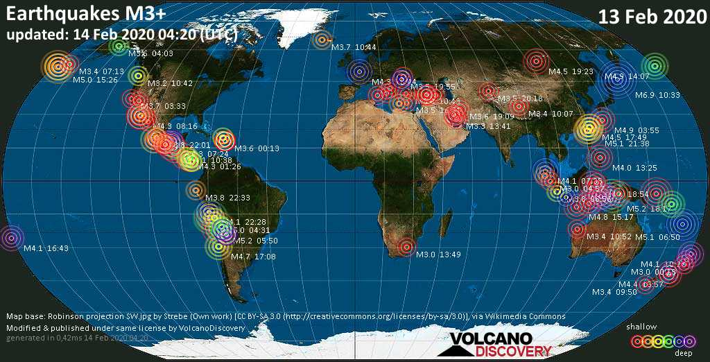World map showing earthquakes above magnitude 3 during the past 24 hours on 14 Feb 2020