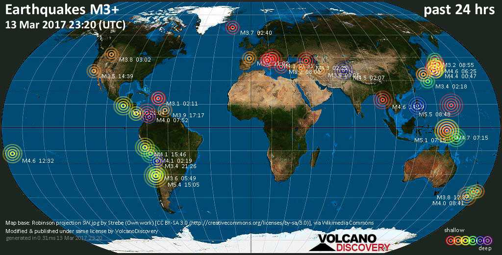 World map showing earthquakes above magnitude 3 during the past 24 hours on 13 Mar 2017