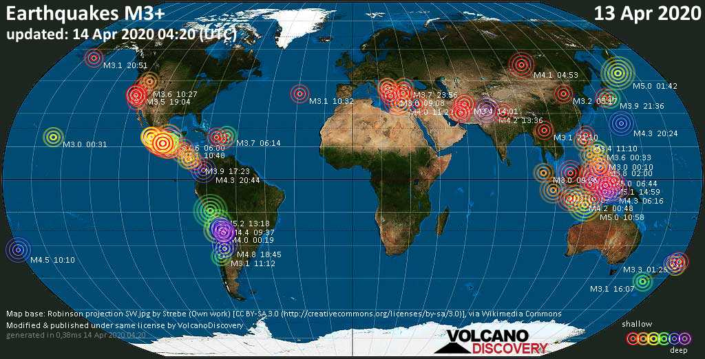 World map showing earthquakes above magnitude 3 during the past 24 hours on 14 Apr 2020