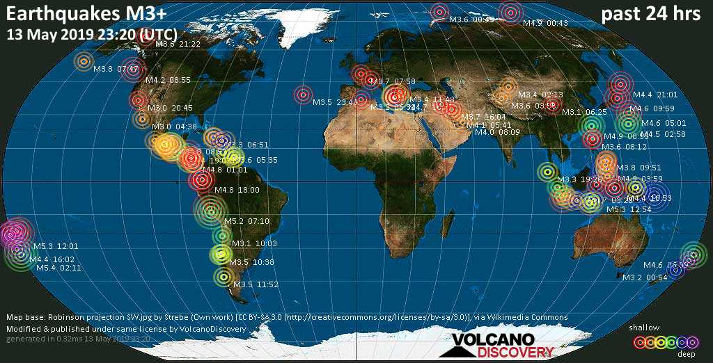 World map showing earthquakes above magnitude 3 during the past 24 hours on 13 May 2019