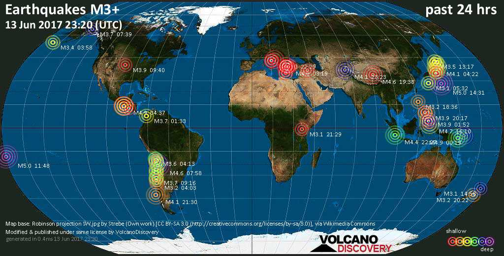 World map showing earthquakes above magnitude 3 during the past 24 hours on 13 Jun 2017