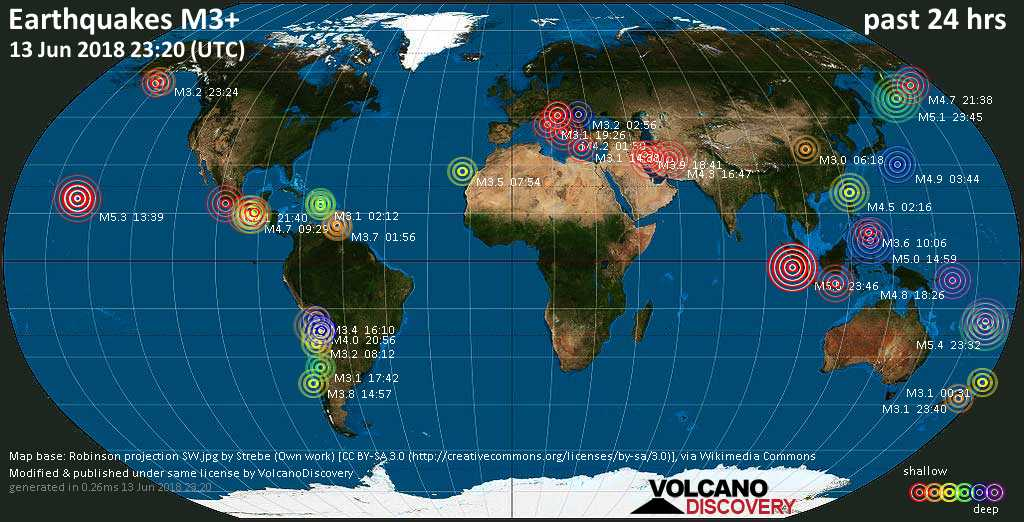 World map showing earthquakes above magnitude 3 during the past 24 hours on 13 Jun 2018