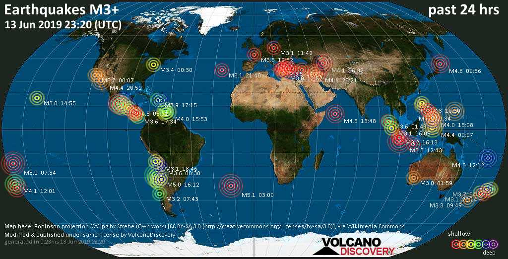 World map showing earthquakes above magnitude 3 during the past 24 hours on 13 Jun 2019