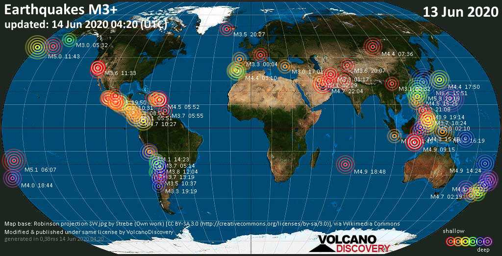 World map showing earthquakes above magnitude 3 during the past 24 hours on 14 Jun 2020