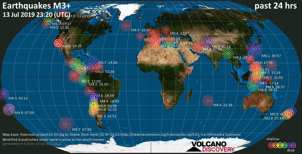 World map showing earthquakes above magnitude 3 during the past 24 hours on 13 Jul 2019