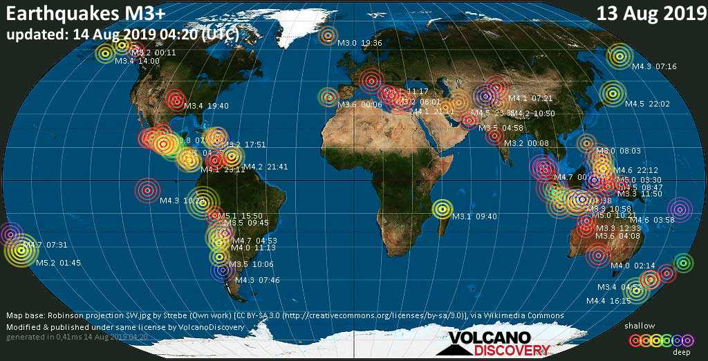 World map showing earthquakes above magnitude 3 during the past 24 hours on 14 Aug 2019